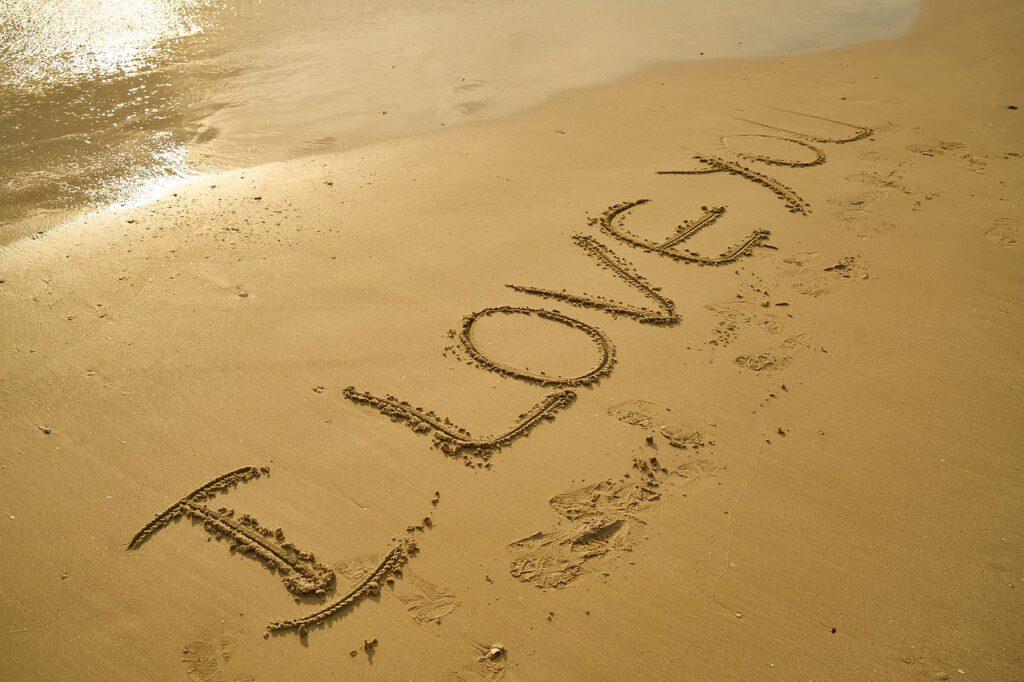 love, i love you, sand