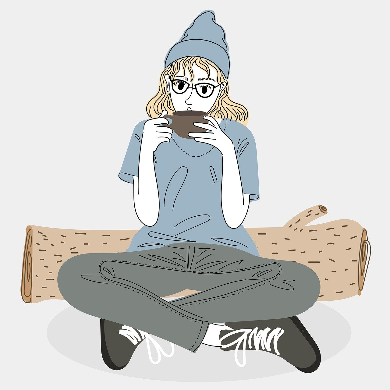 woman, cup, coffee
