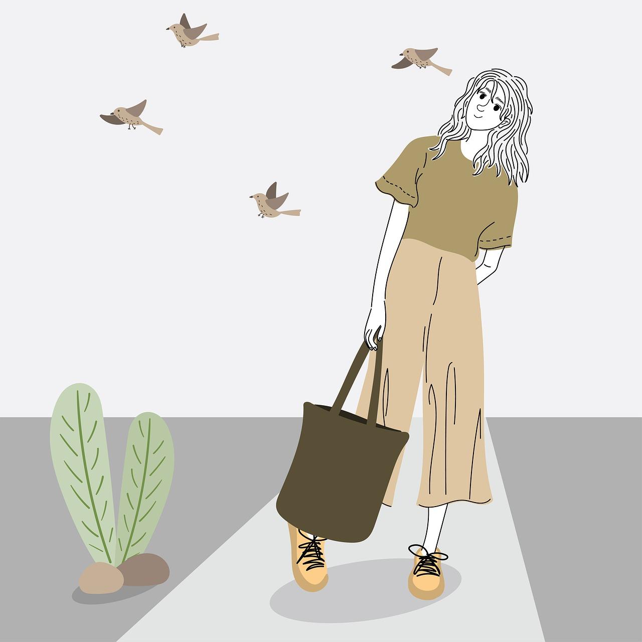 woman, fashion, birds